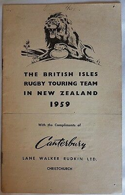 1959 British & Irish Lions souvenir booklet by Canterbury