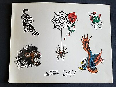 vintage martynuik picture machine production tattoo flash sheet,colored by jack