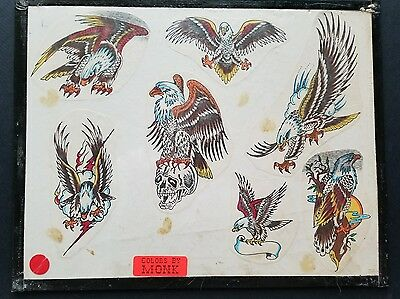 vintage production eagle skull tattoo flash, colored by monk