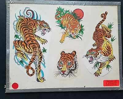vintage pinky yun spaulding S&R production tiger tattoo flash, colors by monk