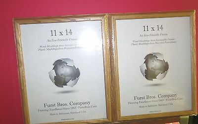 Two 11 x 14 Honey Oak Picture Frames with Glass/backing/hanger