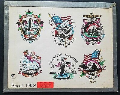 vintage spaulding S&R production nautical navy tattoo flash, colors by monk