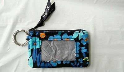 Brand New Vera Bradley Zip ID Case Lanyard Midnight Blue Genuine 14559-136 5x3""