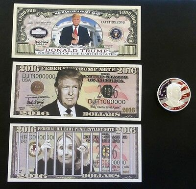 Donald Trump Flag Design Silver Plated Eagle Presidential Coin & 3 Paper Bills