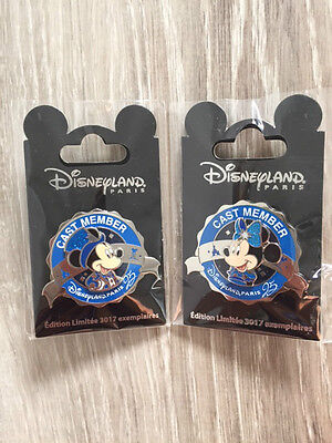 Pin Disneyland Paris CAST MEMBER EXCLUSIVE MICKEY+MINNIE 25EME ANNIVERSAIRE EL
