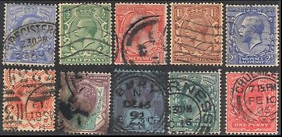 10x GREAT BRITAIN Queen Victoria to King George V Postage Stamps Cancels - Used