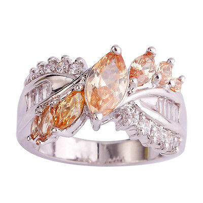 New Fashion Jewelry Marquise Champagne Morganite White Topaz Silver Ring Size 7