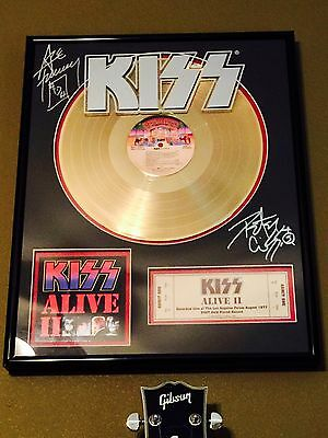 Kiss Signed Gold Record Alive 2 Ace Frehley Peter Criss Not Aucoin 1978