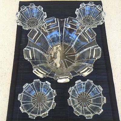 Art Deco Depression Glass Bowl + 4 Small Bowls