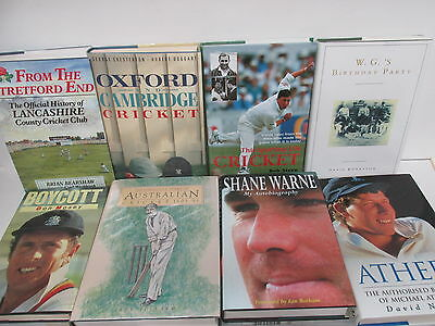 Cricket themed book collection x 22 titles, job lot, sport etc