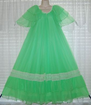 Vtg Green INTIME Sheer Chiffon Peignoir Robe Nightgown Gown Negligee Lace M