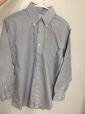 Brooks Brothers Non-Iron Polo Button Down Long Sleeve Navy White Striped  15 2/3