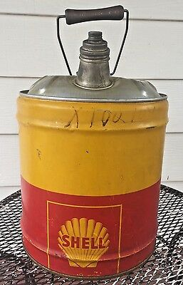 VINTAGE SHELL 5 GALLON MOTOR OIL CAN WOOD HANDLE SHELL OIL CO NY SF USA Rare Can