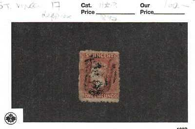 St. Vincent #17 -  1 shilling from 1872, cat.value $160.00