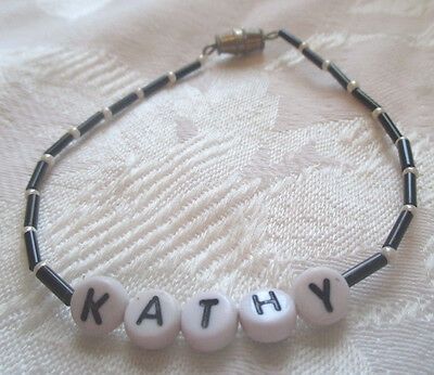 "PERSONALIZED 7""  BEADED NAME BRACELET WITH THE NAME Kathy-NEW"