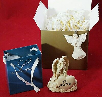 LOVE Guardian Angel White Resin Figurine & Keychain Inspirational Gift Set of 2