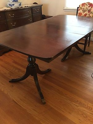 Antique Mahogany Dining Table And 6 Chairs, 1940's