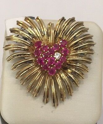 Tiffany & Co. Vintage 18K Yellow Gold Brooch With Rubies And Diamond