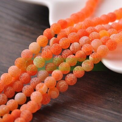6mm 8mm 10mm Orange Frosted Matte Natural Fire Agate Gemstone Round Loose Beads