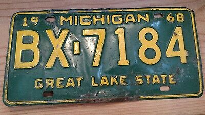 Vintage Michigan License Plate 1968 MI Auto Vehicle Tag Great Lake State