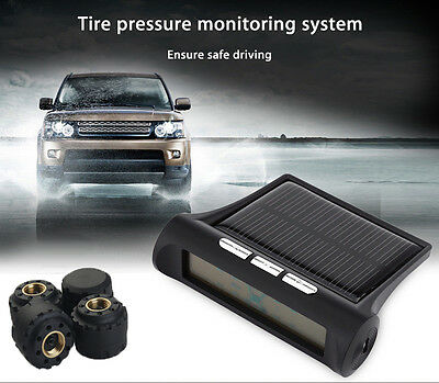 Solar Energy Car TPMS Tire Tyre Pressure Monitoring System Display 4 Sensors PSI