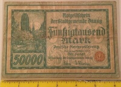1923 German 50,000 Mark Danzig Notgeld Creased
