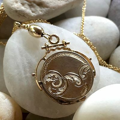 """Antique Victorian 1900's 14K GOLD-FILLED LOCKET / FOB Up-Cycled """"Y"""" NECKLACE 18"""""""