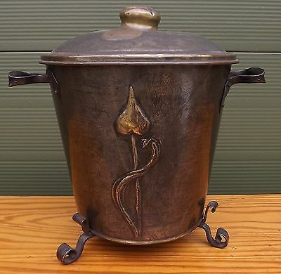 Lovely Antique Art Nouveau Pressed Metal Coal Scuttle / Log Bin Bucket