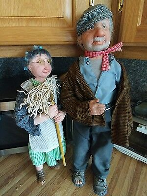 2 DIANNE DENGEL dolls - old man and woman. Original art in great condition