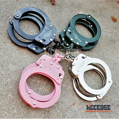 4 COLOR Real Professional Police HANDCUFFS DOUBLE LOCK Chain Authentic w/Keys
