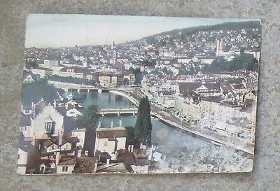Vintage Old Coloured Postcard of Zurich