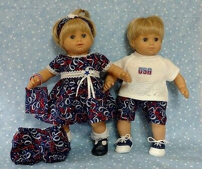 6pc set Patriotic fit Bitty Baby Twin American girl & boy Doll dress shirt pants