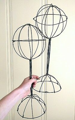 Pair Lot Hat Display Stand Tall Wire Vintage Looking Wig Scarf Keeper Store Shop