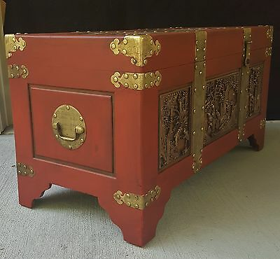 Huge Antique Vtg Brass & Wood Chinese  Asian Trunk Chest With Hand Carved Panels