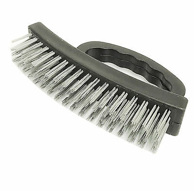 "NEW  6.5"" inch Large Heavy Duty Stainless Steel Wire Brush Plastic Grip"
