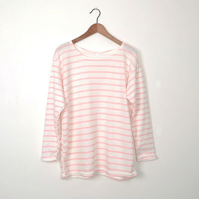 New Womens Long Sleeve Stripe T Shirt Top in Pink AU Size 8-14