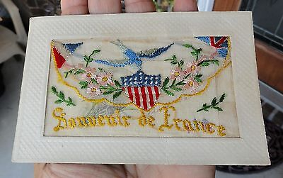 WWI Souvenir France FRENCH American BRITISH UK Flags SILK EMBROIDERED POSTCARD