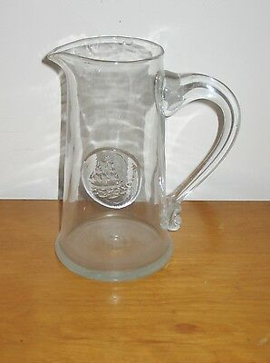 Blenko  hand blown glass Mid Century crystal sailing ships pitcher Americana