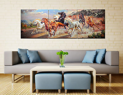 "Abstract Wall Decor Art Oil Painting on Canvas NO frame 3pc 16"" Running Horse 16"