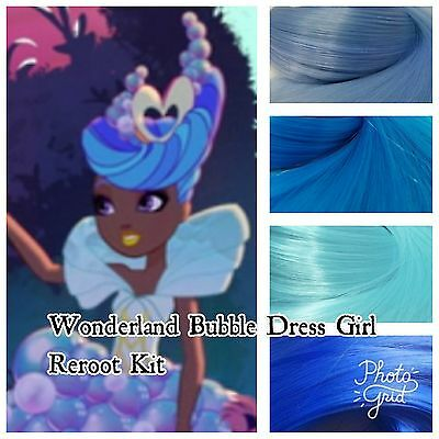 Ever After High Wonderland Bubble Dress Girl Reroot Nylon Hair Kit for OOAK Doll