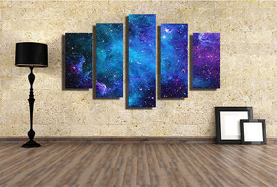 5pc Painting Picture Print On Canvas Galaxy Modern Wall Art Decor No Frame WL118