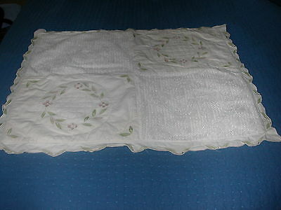 Vintage Lace and Applique Ivory Pillow Sham - Standard Size
