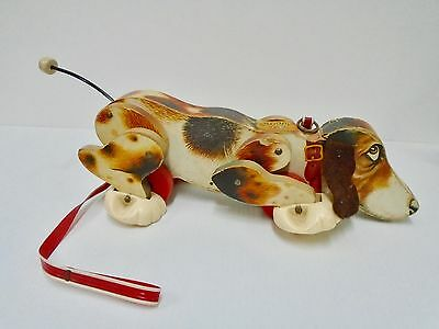 Vintage 1961 Fisher Price Wooden Snoopy Walking Dog Pull Toy #181