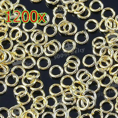 Wholesale 1200p Gold Plated Copper Open Split Jump Ring Jewelry Finding 4mm