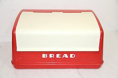 Vintage Lustro Ware Red & White Plastic Bread Box B-20 Made in USA, Clean! NICE!