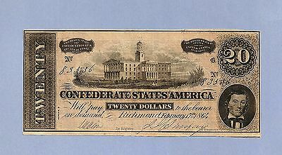 1864 $ 20 Confederate Currency Cr T-67 High Grade Uncirculated Sharp !