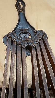 Vintage Ornate cast iron wall mount clothes drying rack wood arms laundry