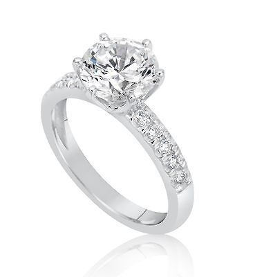 2.16 Ct Round Cut F/vs2 Diamond Solitaire Engagement Ring 18K White Gold