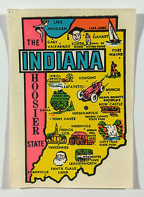 Vintage Travel Decal / Transfer - Indiana, The Hoosier State