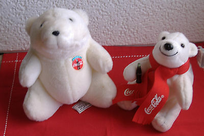 Coca Cola Stuffed Mama and Baby Bear. Vintage collectibles